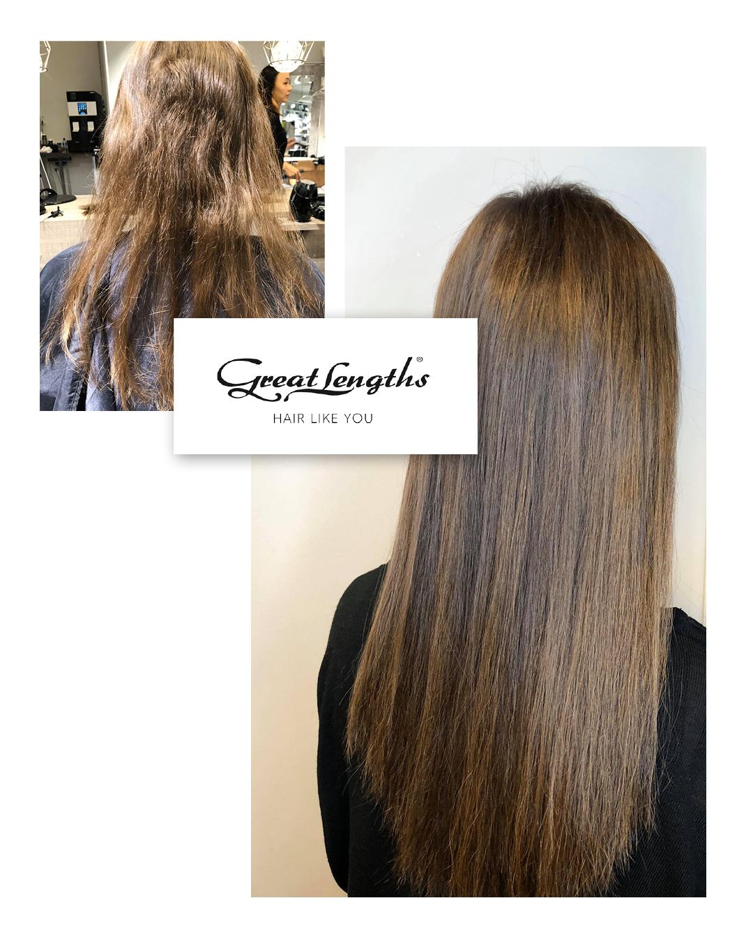 Hair extensions fra Great Lengths. Før-bilde av tynt, pistrete hår og etterbilde av langt, brunt, glansfullt hår