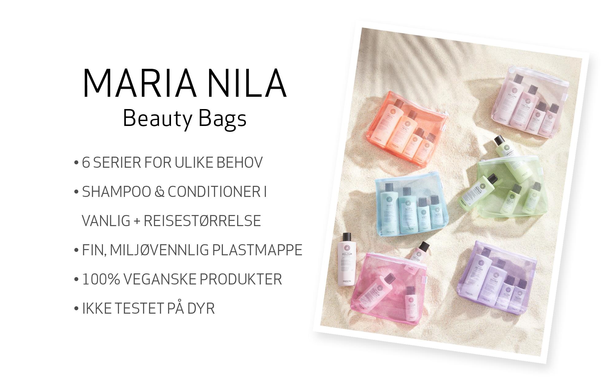 Maria Nila Beauty Bags i forskjellige farger med shampo og balsam