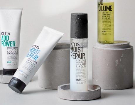 Et utvalg leave-in hårprodukter fra KMS