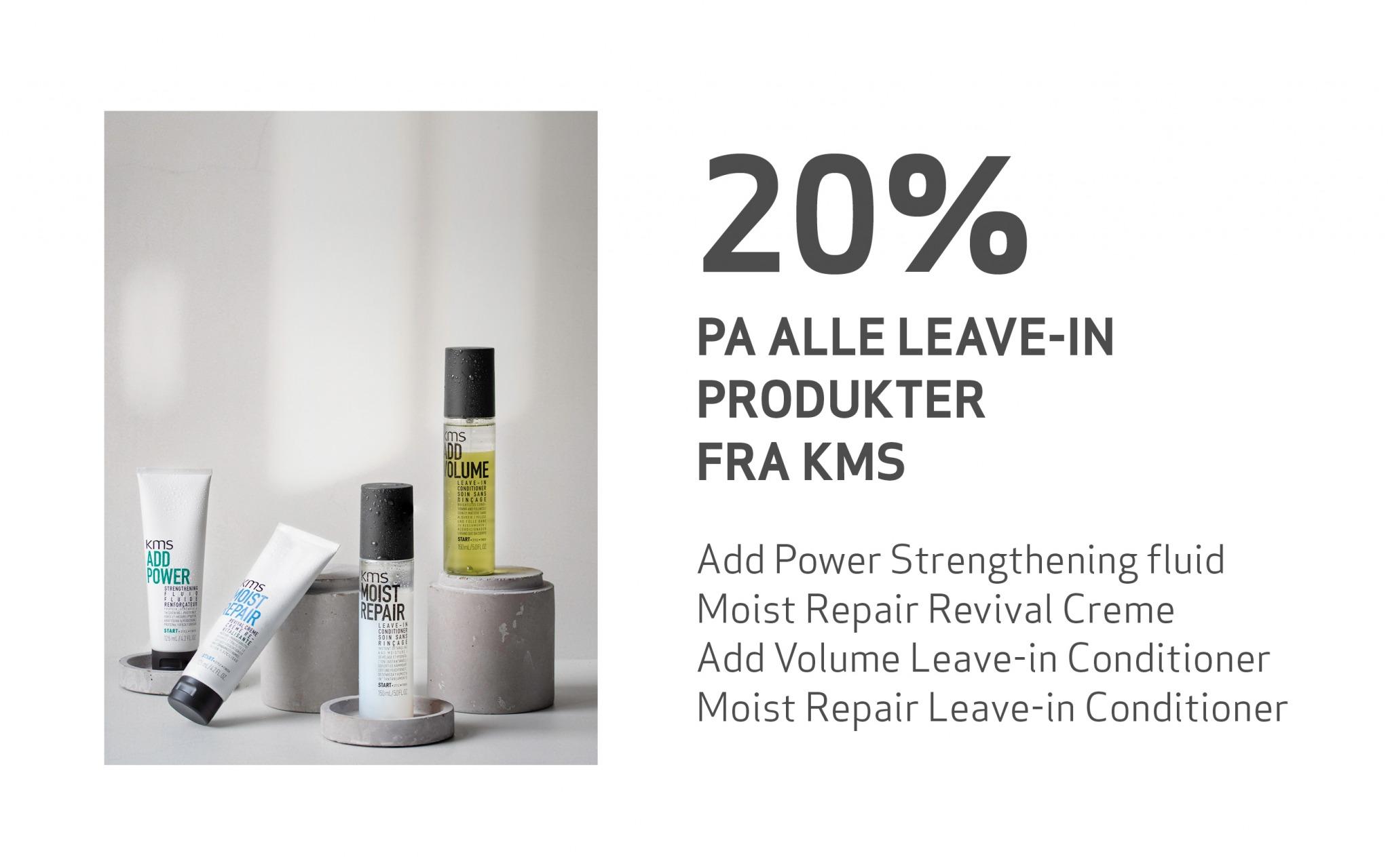 Et utvalg leave-in hårprodukter stilt opp sammen
