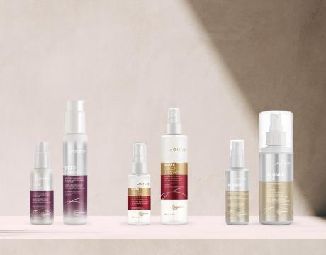 6 flasker med leave-in hårprodukt i ulike størrelser og varianter
