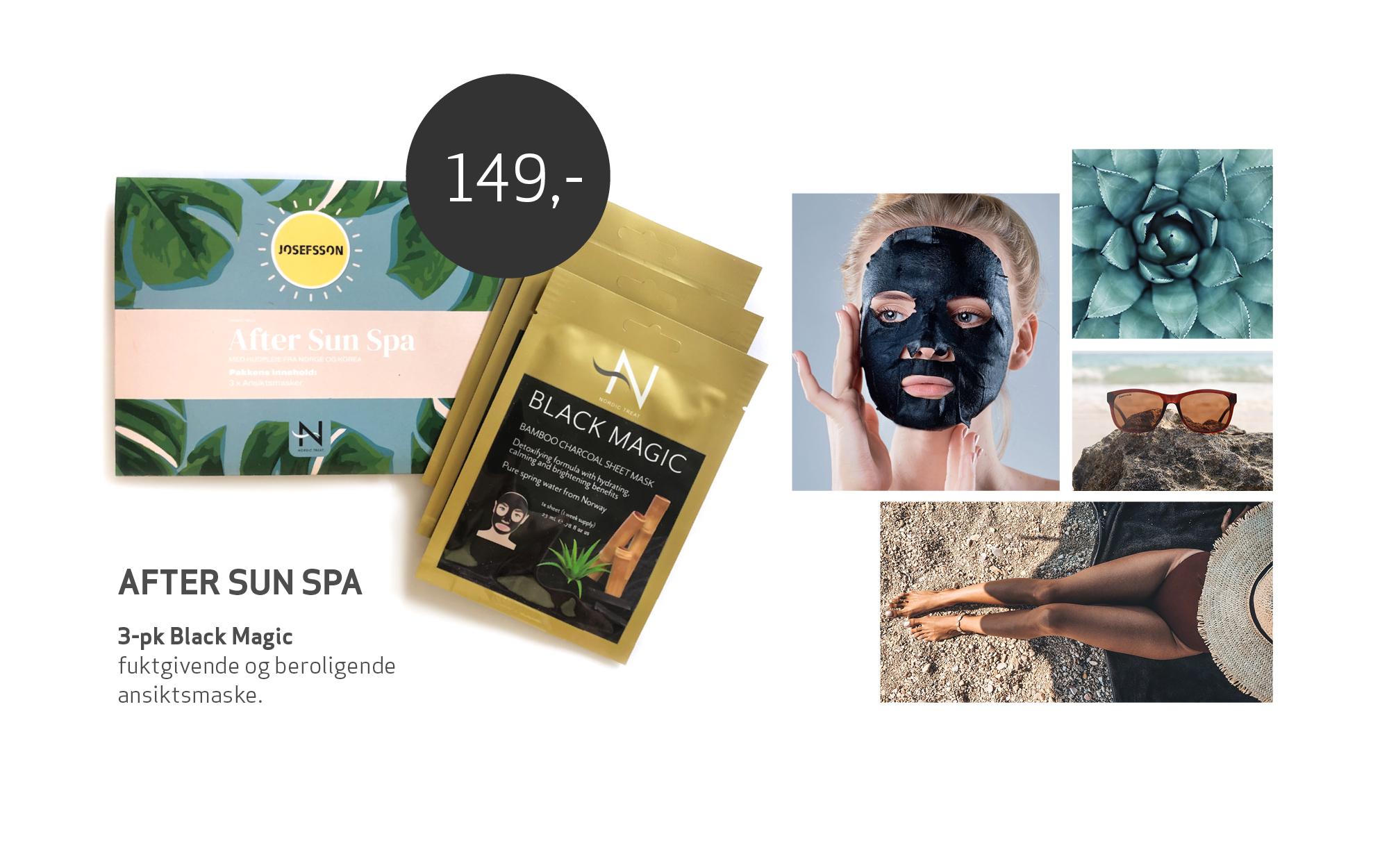 Pakning med 3 stk ansiktsmaske og collage av bilder med kvinne som soler seg, strand og plante