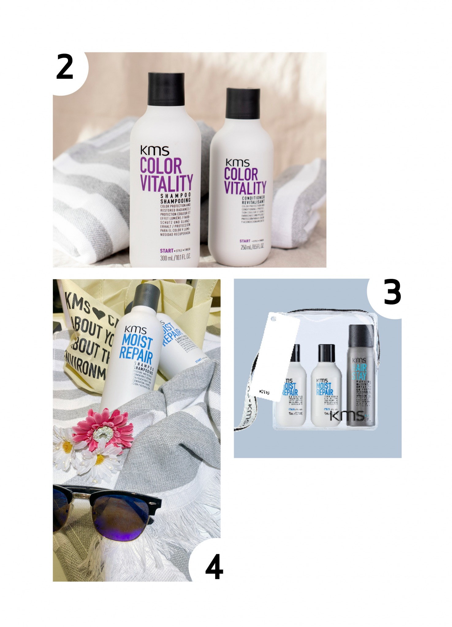 Collage med diverse hårprodukter fra KMS