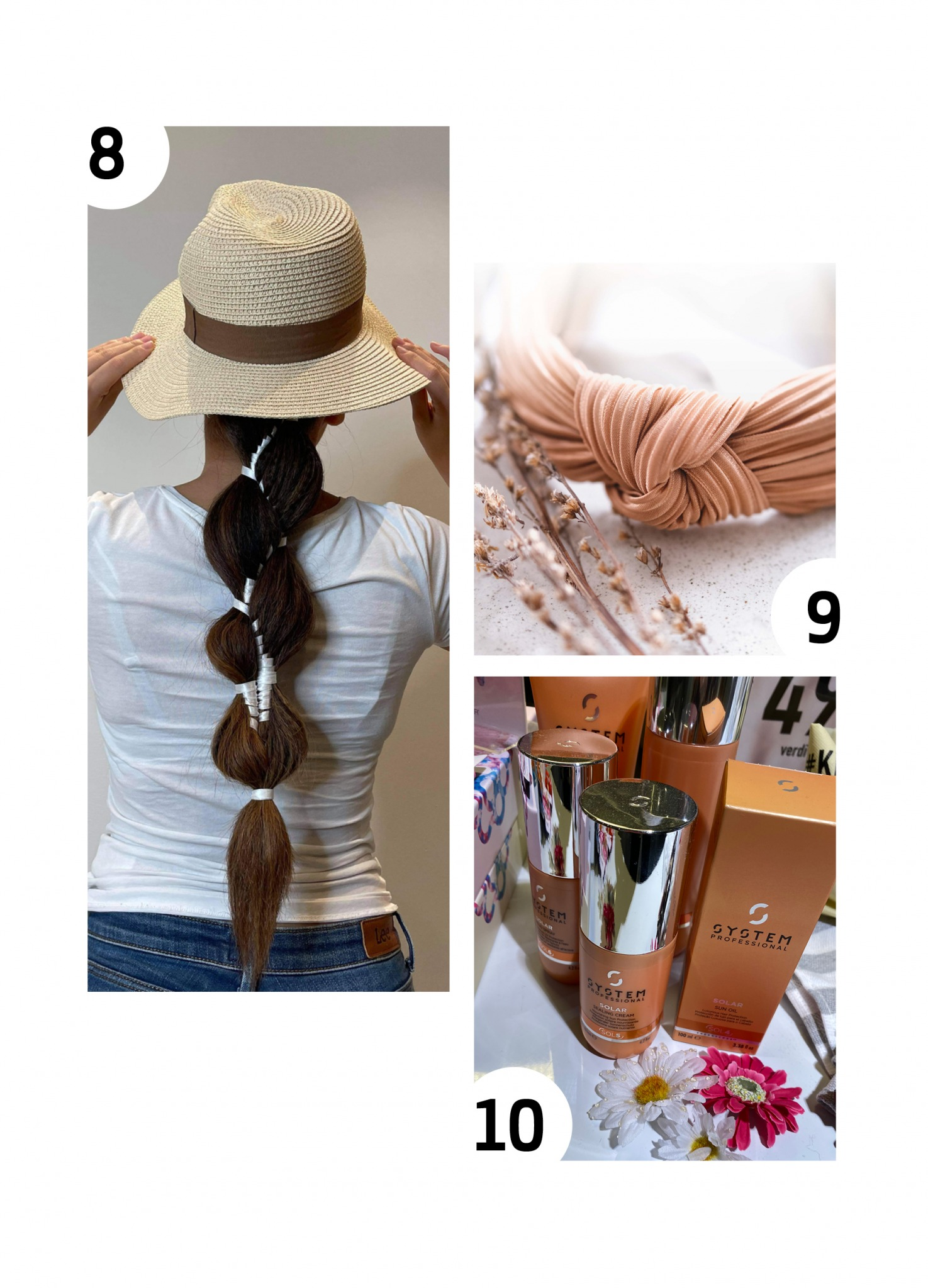 Collage med sommerprodukter - Kvinne med flette og stråhatt, hårbøyle fra Noma i drapert stoff i lys terracottafarge, produkter fra System Professional Solar