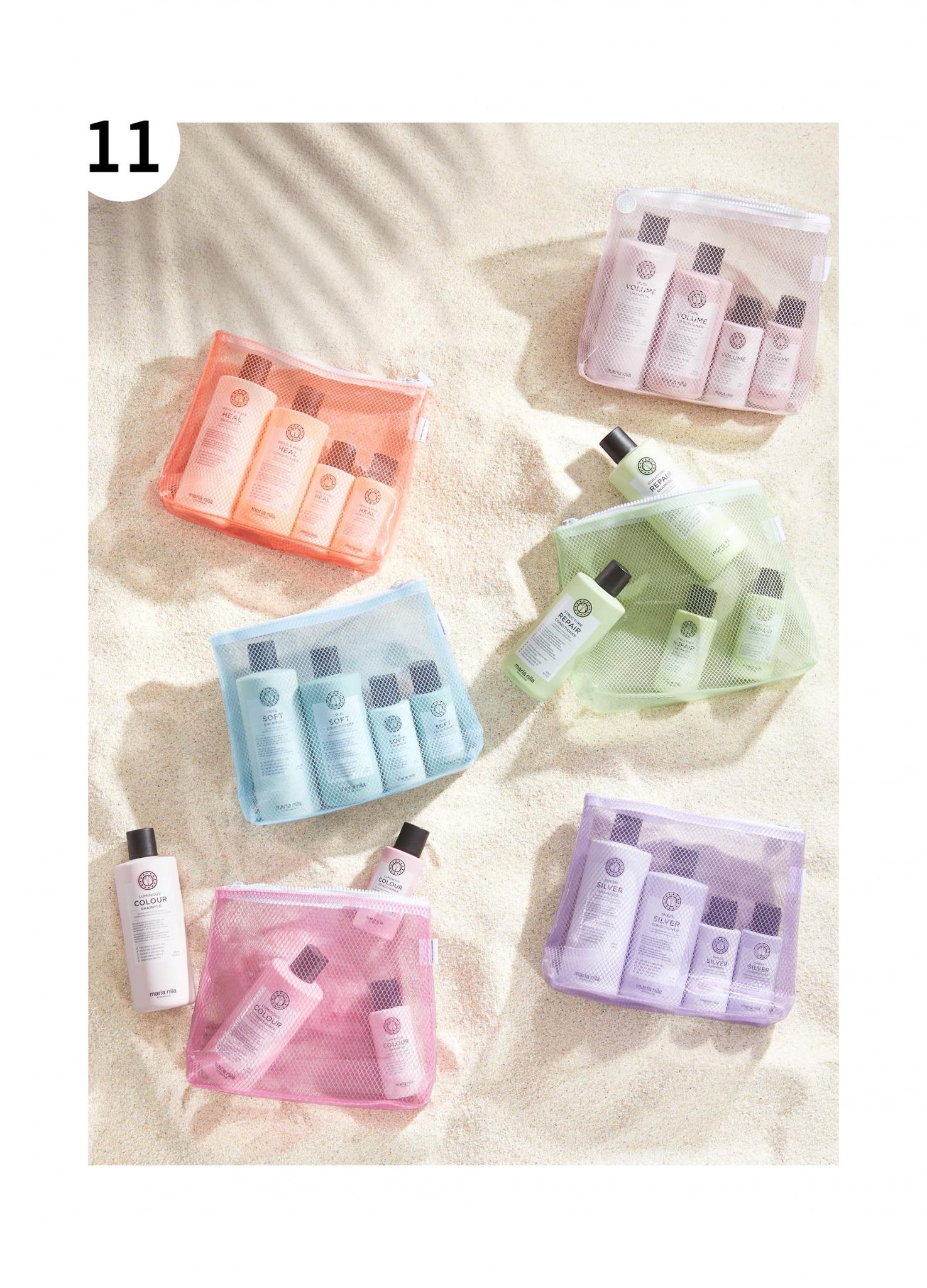 Maria Nila Beauty Bags toalettmapper i forskjellige farger med shampo og balsam i vanlig størrelse og reisestørrelse